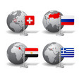 gray earth globes with designation of switzerland vector image