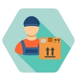 Transportation Work Flat Hexagon Icon with Long vector image