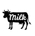 White silhouette of cow head with grunge scratched vector image