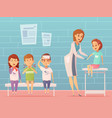 children visit pediatrician composition vector image