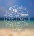 Set icons on seascape background vector image