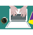 lap top with hands vector image vector image