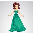 Princess In Green Evening Dress vector image