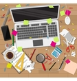 Creative mess wooden desk chaos on table vector image