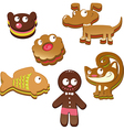 cute christmas gingerbread cookies isolated on vector image