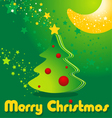 greeting card with Christmas tree stars and moon vector image