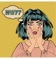 Surprised Shocked Woman in Pop Art Style vector image