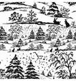 Watercolor winter forest landscape vector image