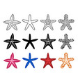 starfish icon set vector image