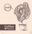 cup of coffee menu design vector image