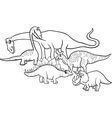 cartoon dinosaurs coloring page vector image vector image