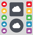 cloud icon sign A set of 12 colored buttons Flat vector image
