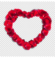 abstract natural rose petals heart on transparent vector image