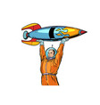 Astronaut and vintage rocket isolated on white vector image