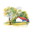beautiful village house and picturesque green vector image