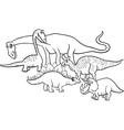 cartoon dinosaurs coloring page vector image