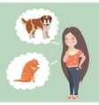 Girl thinking whom to choose Cat or dog vector image