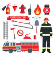 profession of fireman or firefighter tools vector image