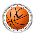 wall clock basketball style on white background vector image
