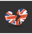 Broken heart with United Kingdom flag texture vector image