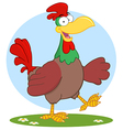Happy Brown Chicken Walking vector image