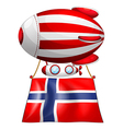 A floating balloon with the flag of Norway vector image vector image