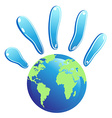 hand globe symbol vector image vector image