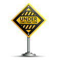 Pole with Under Construction Sign vector image vector image