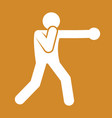 boxing punch outline sport figure symbol graphic vector image
