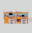 colorful background double work place office vector image
