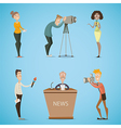 journalists reporters cameraman photographer vector image
