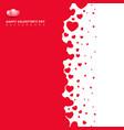 red hearts futuristic random size on white vector image