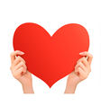 Two hands holding red heart vector image