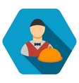 Waiter Flat Hexagon Icon with Long Shadow vector image