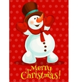 Christmas snowman for greeting card design vector image