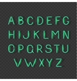 Neon light glowing alphabet signs letters font vector image