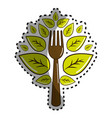 sticker fork kitchen tool with leaves vector image
