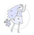 Glamorous girl with a teddy bear in hand modern vector image