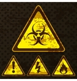 Set of grunge warning signs vector image