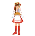 Girl in ukrainian clothes with round loaf vector image