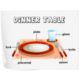 Dinning table Diagram vector image