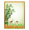 A frame with bamboo plants and butterflies vector image