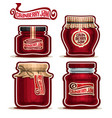 cranberry jam in glass jars vector image