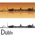 Dublin skyline in orange background vector image