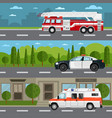 fire truck police and ambulance car on highway vector image