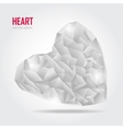 Grey Polygonal heart on white vector image