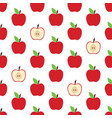 pattern with whole apple and cut vector image