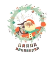 Reindeer and Santa embracing each other vector image