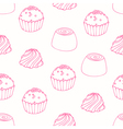 Seamless pattern with outline candies vector image