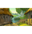 cartoon landscape rustic hut by the river vector image